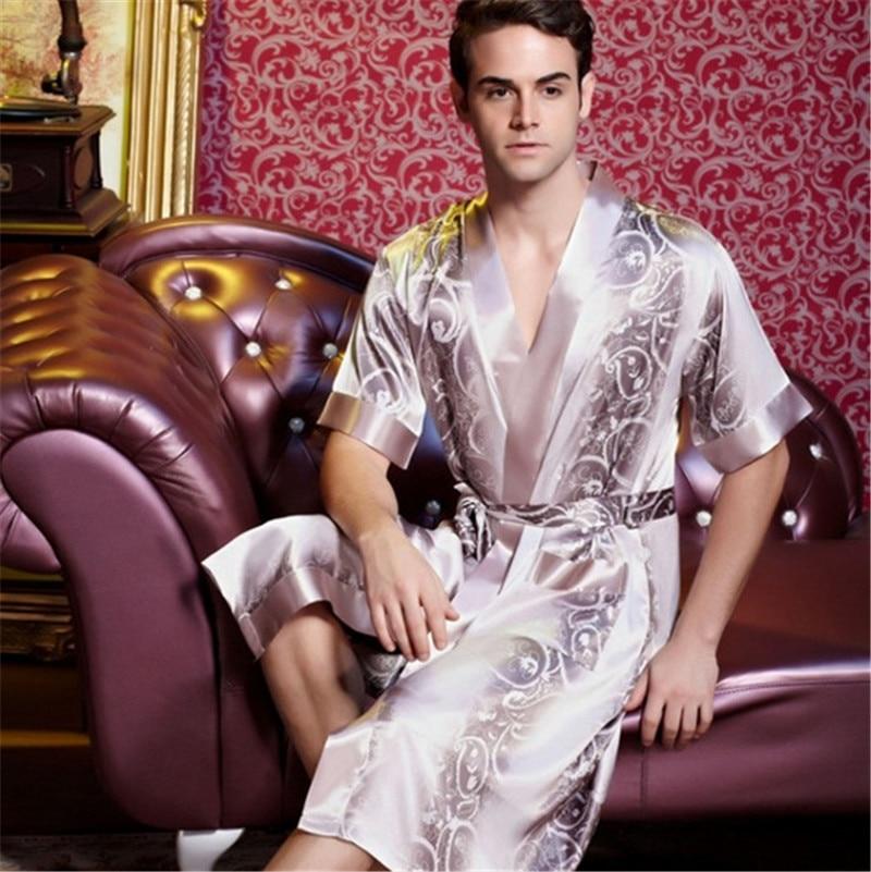 Classic Fashion Silk Short Sleeve Robe High Quality Bathrobe Men ...