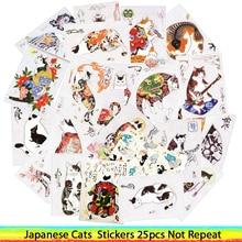 25 шт./лот, японский самурайский тату Кот, наклейки для автомобиля, ноутбука, ПВХ, рюкзак для велосипеда, домашняя наклейка, сделай сам, водонепроницаемые ПВХ наклейки для игрушек