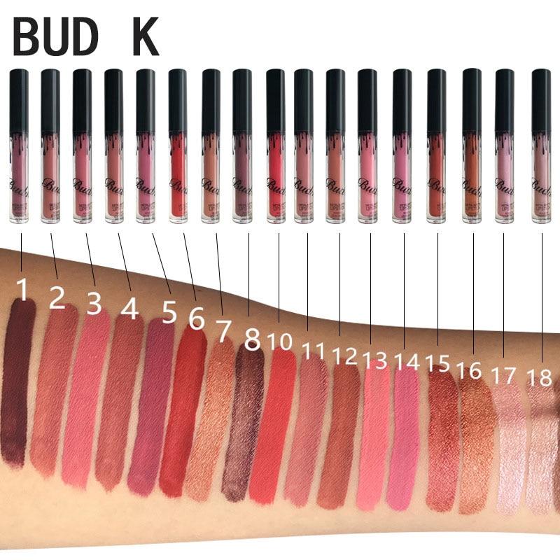 BUD K Matte Liquid Lipstick Non-stick cup lip gloss 18 Color Lipstick Matte Waterproof Durable Suitable for all different makeup каталог pink lipstick