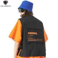Aolamegs Jacket Vest Solid Color Multi Pocket Tank Tops Men Motorcycle Hip Hop Waistcoat Male Cargo Jacket Sleeveless Streetwear