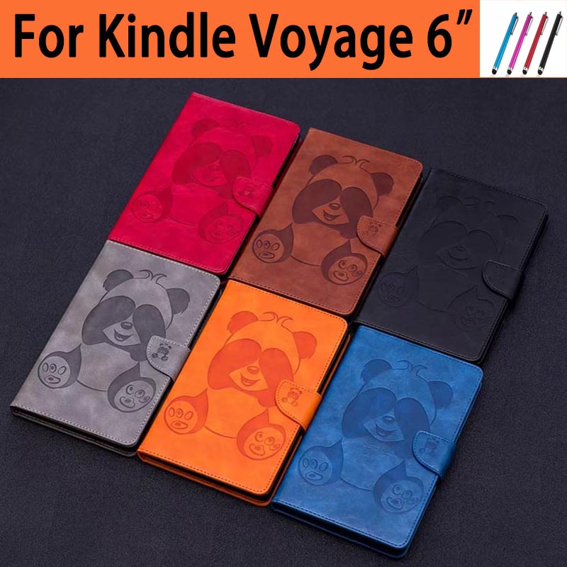 For Kindle Voyage 6 inch Cute Cartoon pu Leather Flip Smart Case For Amazon Kindle Voyage 6.0 inch Tablet Cover Cases +Stylus cartoon painted flower owl for kindle paperwhite 1 2 3 case flip bracket stand pu cover for amazon kindle paperwhite 1 2 3 case