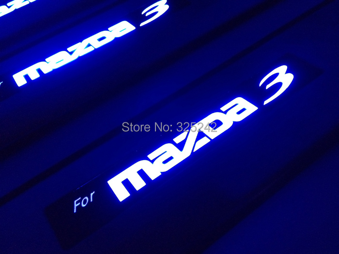 Excellent led stainless steel threshold door sills For Mazda 3 Second generation 2010 Mazda 3 S