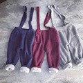 Niños Guardapolvos Del Bebé de la liga de los pantalones para las niñas trajes de terciopelo caliente de espesor de punto lindo de la manera del babero de la raya trajes niños 1-5Y