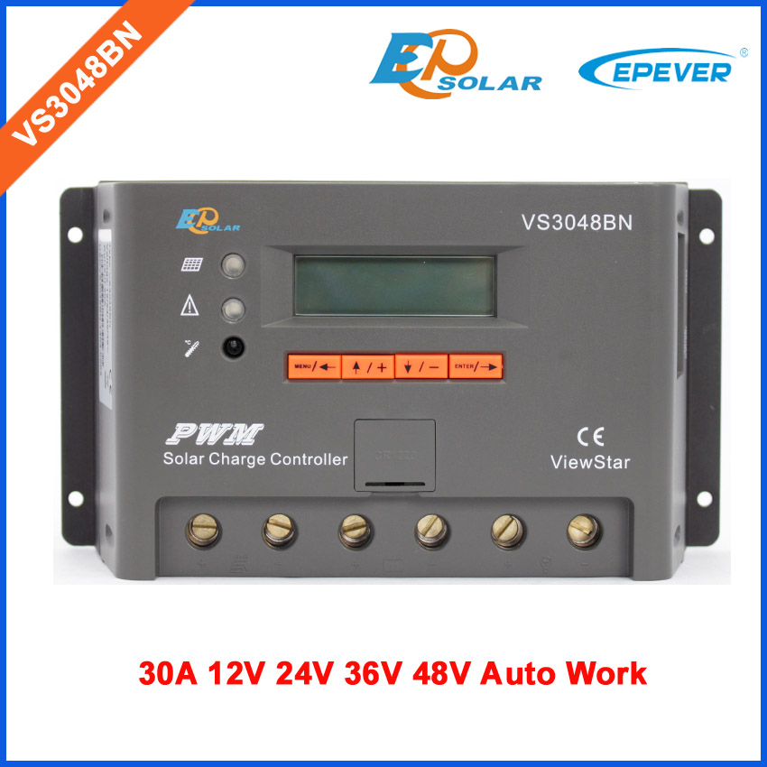 Solar charging controller 12v 30A 30amp VS3048BN built in lcd display EPSolar/EPEVER PWM regulator epsolar lcd display 30a 30amp pwm vs3048au solar controller regulator with temperature sensor