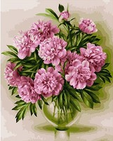 MaHuaf X618 1PC Pink Peony Flower Oil Painting By Numbers Wall Pictures Coloring By Numbers Canvas