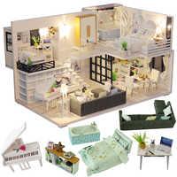 CUTEBEE DIY Casa de muñecas de madera casas de muñecas miniatura Casa muebles Kit Casa música Led juguetes para niños Regalo de Cumpleaños M21