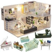 Cutebee diyドールハウス木製ドールハウスミニチュアドールハウス家具キットカサ音楽ledおもちゃ子供の誕生日ギフトM21
