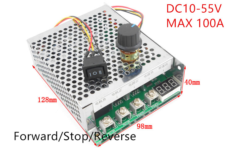 цена на DC Brush Motor Speed Regulator DC 12V 24V 36V 48V 5500W High Power 100A Reversible Motor controller