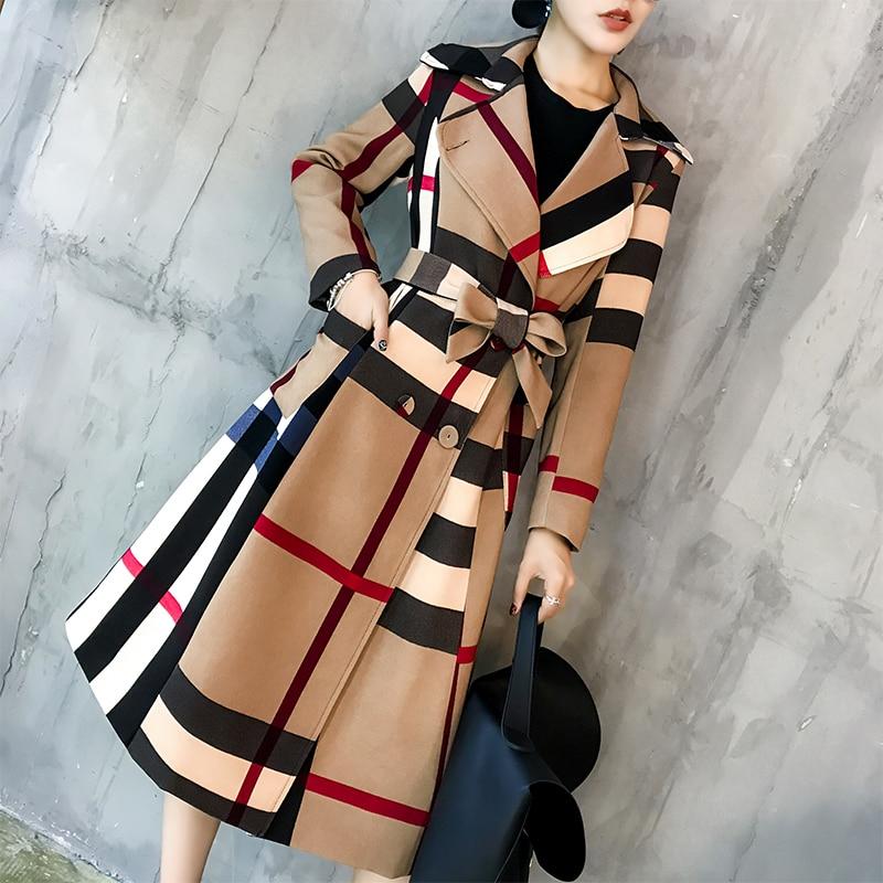 Autumn winter Women Vintage   trench   coat office lady patchwork color Outwear temperament lattice Outerwear Adjustable Waist belts