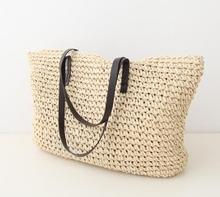 Hot fashion women straw bag vintage knitted big tote bags shoulder bags Simple hollow beach bags
