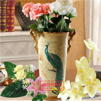 The beauty of the world Home Furnishing boutique ceramic ornaments | peacock vase ornaments | European style living room Home Fu