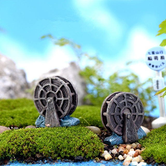 Mini Waterwheel 2 5cm Figurine Fairy Garden Miniatures Terrariums Resin Craft For Home Decoration Handmade Diy