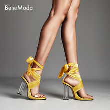 transparent square chunky heel ankle lace up new style summer bule high fashion women sandal