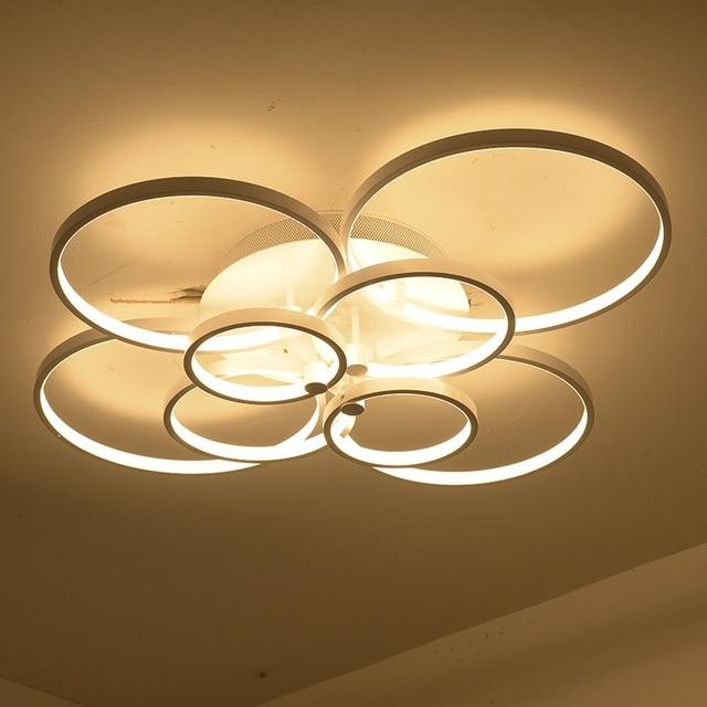 Slim 4/6/8/10 Ring LED Acrylic Ceiling lamp Living Room Bedroom Study Restaurant Light Office Workplace Ceiling lights 110-240v