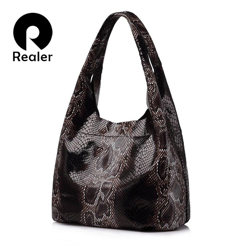 PLUS RÉEL véritable sacs à main en cuir grand totes classique serpentine gravures d'épaule sac dames hobos sacs pour femmes top-poignée seau