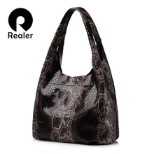 Realer brand hobos genuine leather woman handbags single large tote bag classic serpentine prints leather shoulder bags ladies