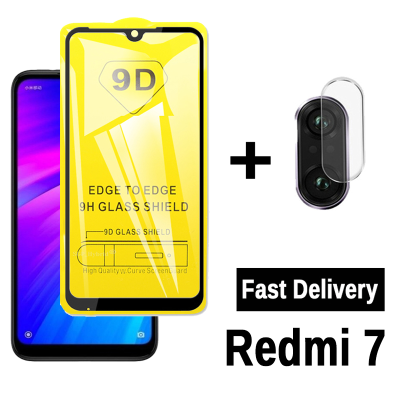 9D Full Glue Tempered Glass For Redmi 7 Screen Protector & Camera Lens On Red Mi Redmy 7 Redmi7 Protective Glass Film Xiomi