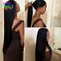 Black Silky Straight Hair Lace Wigs Synthetic Hair Wigs Heat Resisitant Fiber Glueless Synthetic Lace Front Wig for Black Women