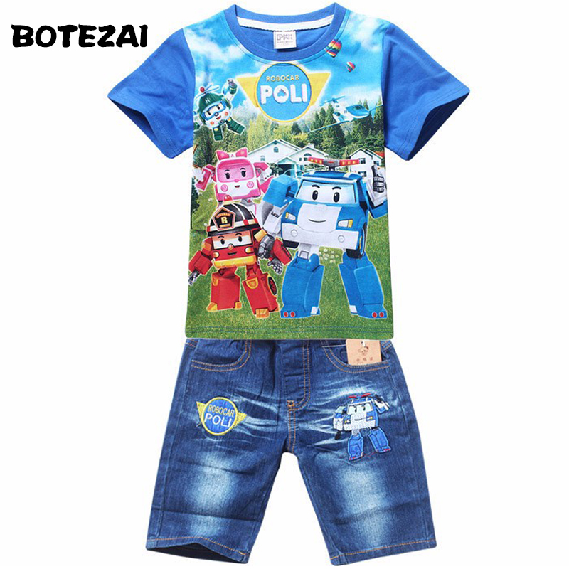 2017 Summer POLI ROBOCAR Children Boys Clothing Sets Baby Kids Suits Shirt Jeans Shorts Pants Cotton Cartoon Clothes Set new 2017 summer children 2 pcs set kids clothes boys letter striped t shirts and jeans shorts pants boys children clothing sets