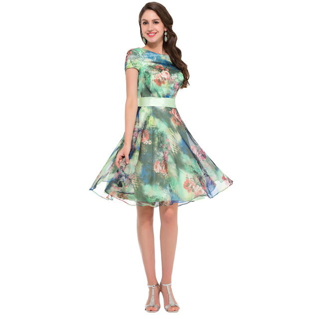 New Arrival Grace Karin Floral Print Vintage Flower Pattern Prom Dress  Short Dance Party Gown Short Sleeve Sexy Cocktail K000005 3605dc74494b
