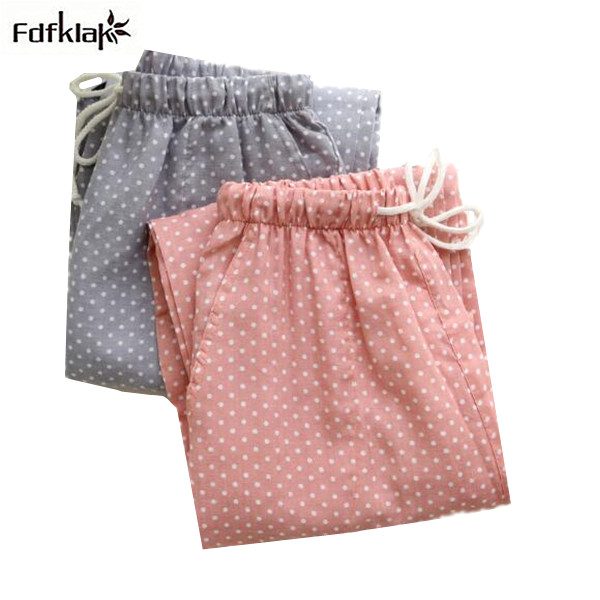 Women's Sleep Bottoms Pajamas Pants Ladies Underwear Trousers Polka Dot Women Lounge Pants Loose Cotton Home Pant Q472