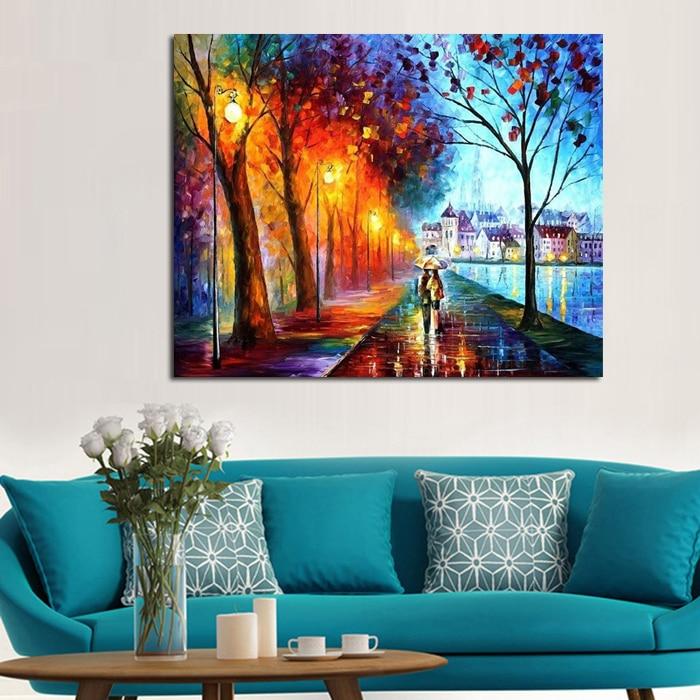 Newlywed Home Decor: 100%Handpainted Oil Painting Leonid City Couple Umbrella