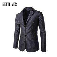 Бренд Для мужчин кожаные костюм Бизнес Slim Fit мужской пиджак в английском стиле Стиль черная кожаная куртка Для мужчин Блейзер костюм Блейзер masculino B3200