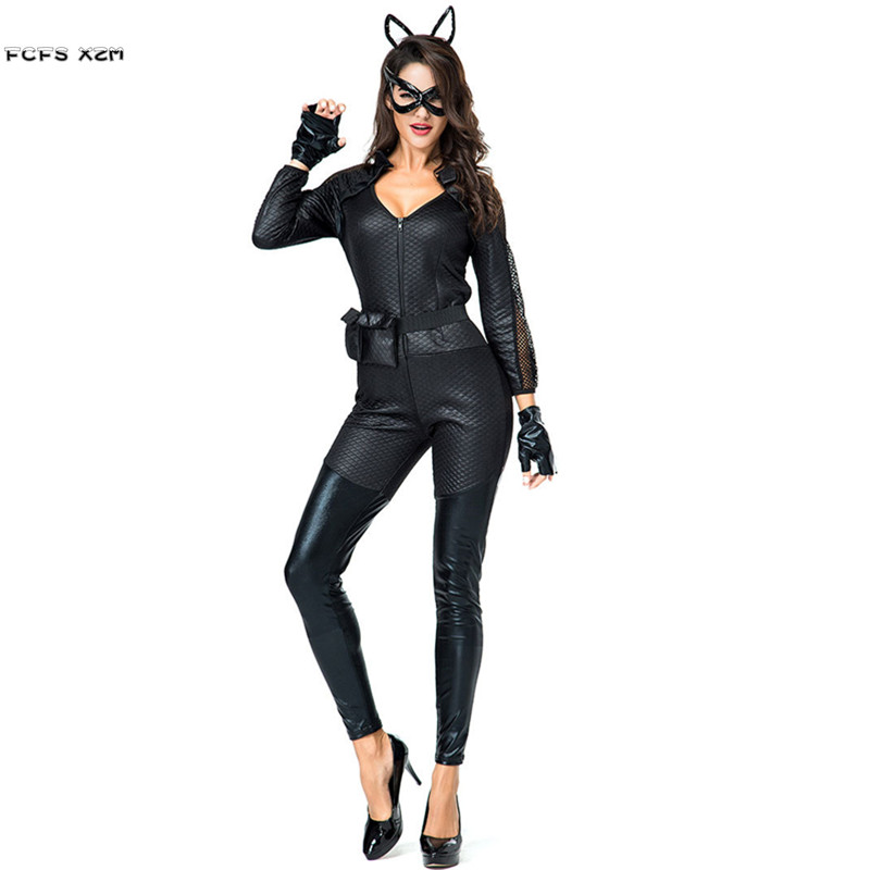 Black Faux leather Sexy Woman Cat Girl Animal Cosplays Female Halloween Catwoman Costumes Nightclub Bar party Pole dancing dress
