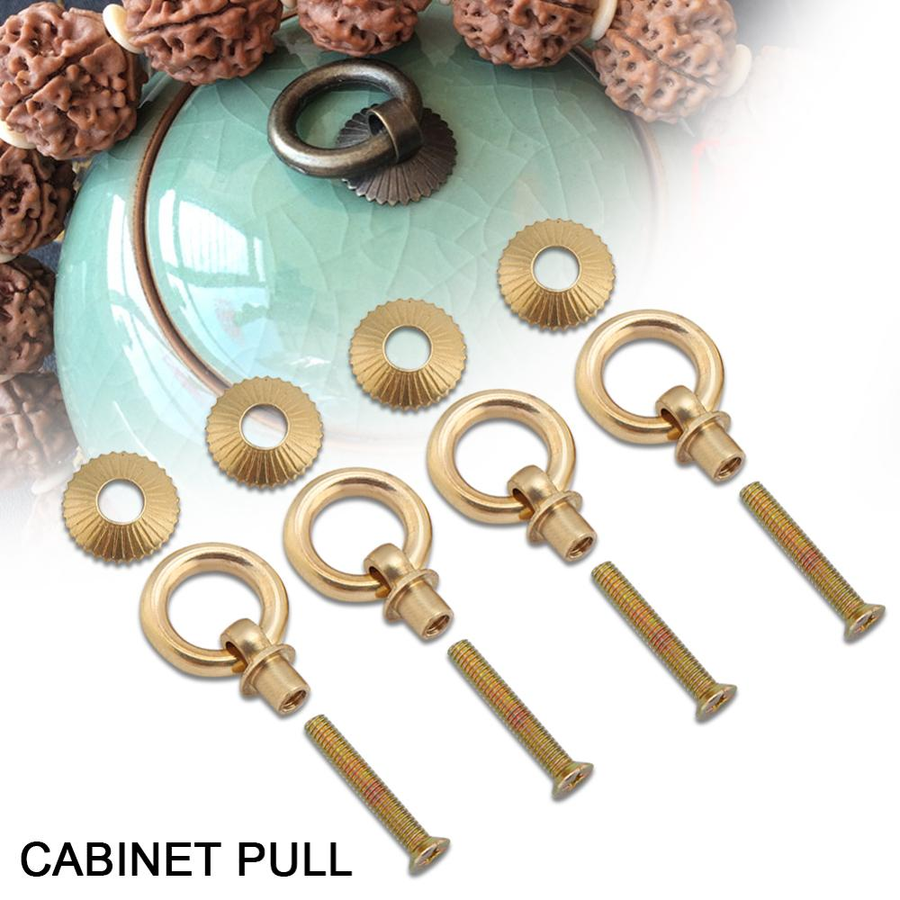 Vintage 4pcs/pack Mini Simple Pull Rings Cosmetic Case Jewelry Box Attachment Handle Furniture Accessories