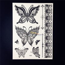 25 Styles Sexy Products Black Henna Temporary Tattoo Lace Butterfly Decals Women Body Art Waterproof Fake Tattoo Stickers HBY082