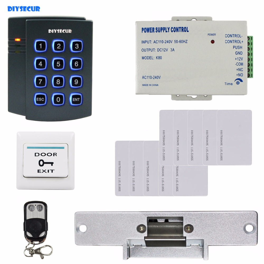 DIYSECUR Remote Control Complete 125KHz RFID Reader Password Keypad Access Control System Kit + Strike Door Lock + Exit Button diysecur 280kg magnetic lock 125khz rfid password keypad access control system security kit exit button k2
