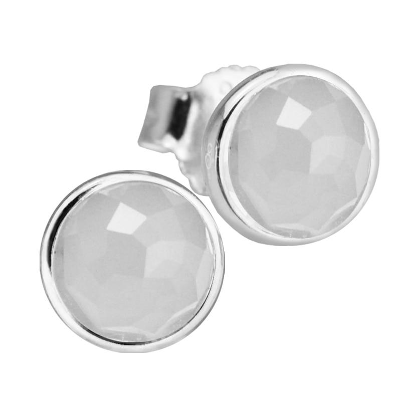 Июня капель Серьги-гвоздики с серый лунный камень 100% 925 стерлингового Серебряные ювелирные изделия Бесплатная доставка
