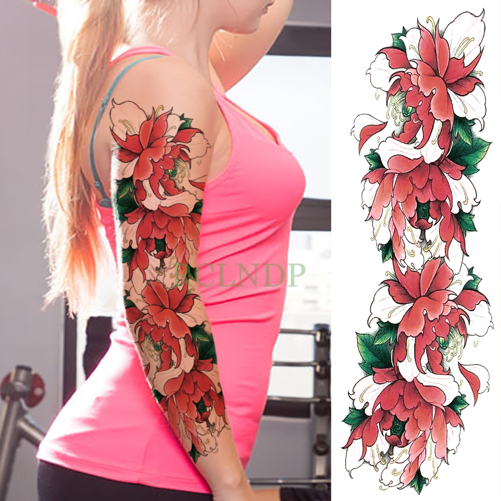 Temporary Tattoo Sticker Large Size Body Art Sketch Flower: Waterproof Temporary Tattoo Sticker Full Arm Beautiful