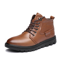 Winter Snow Boots High Grade New Men'S Boots Leather Upper Rubber Outsole Short Plush Slip Inside Warm Martin Boots