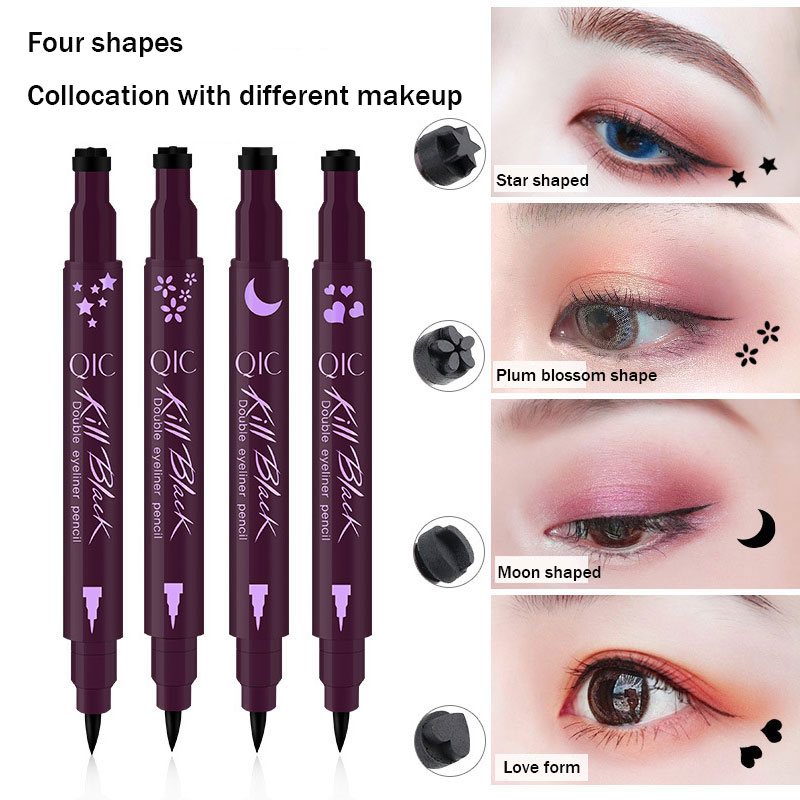 Double-ended Eyeliner Waterproof Black Liquid Eyeliner Pencil With Tattoo Stamping Seal Eye Liner Pen Makeup Tools Heart/star Professional Design Beauty Essentials Eyeliner