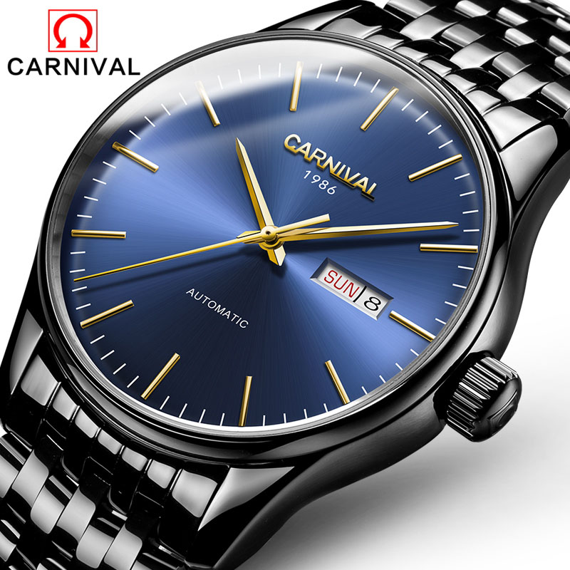 Watch men Mechanical Watches Waterproof relogio masculino Automatic Movement Date Week Luminous Stainless Steel Watches Clock relojes full stainless steel men s sprot watch black and white face vx42 movement