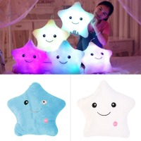 Hot 1pcs 40cm Led Light Pillow Luminous Pillow Christmas Toys Plush Pillow Colorful Stars Kids ToysBirthday