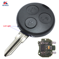 KEYECU Replacement Remote Car Key Fob 433MHz for Smart Fortwo Forfour Roadster City Passion 2000 2005 With 2 Infrared Lights