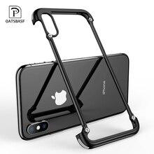 OATSBASF כרית אוויר מתכת מקרה עבור iPhone X מקרה אישיות כרית אוויר מעטפת עבור iPhone X מתכת פגוש כיסוי מקרה עם מתנה זכוכית סרט