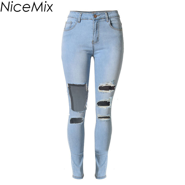 176c6cf69f Plus Size NiceMix 2019 Vintage Ripped Jeans For Women High Waist Jeans  Woman Skinny Pencil Pants Hole Denim Jeans Femme