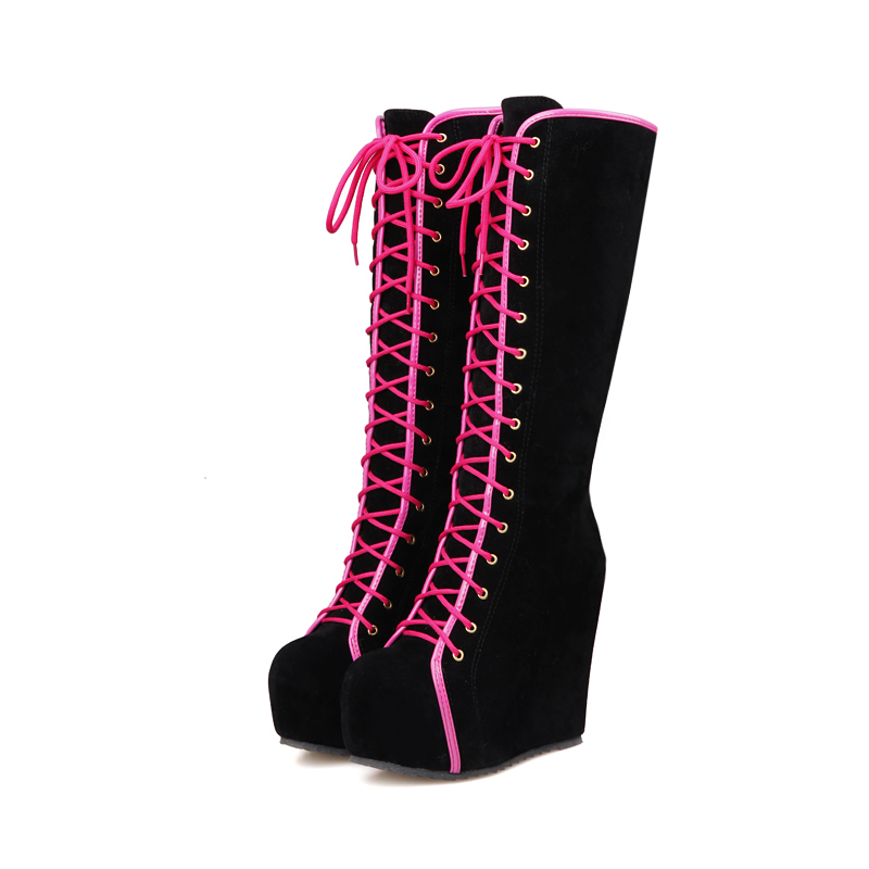 ФОТО 2017New Ladies Punk Rock Goth Women High Platform Wedge Heels Faux Suede Lace Up Fahsion Knee High Boots Creepers Shoes woman