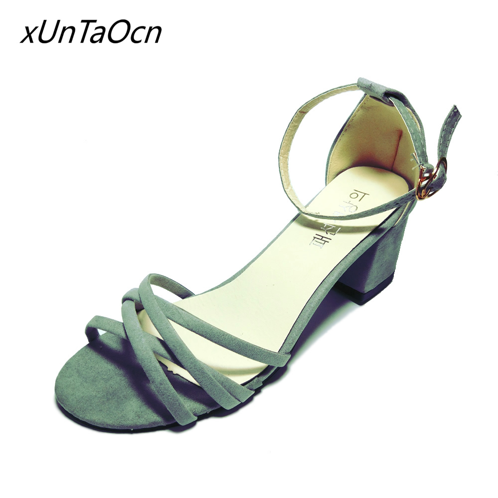 square heel women nubuck shoes Peep Toe 5cm high heels Sexy lady open toe Footwear Ankle strap woman Suede Sandals gray black free shipping one pieces sonar quest carbon fiber silver plated eu power plug