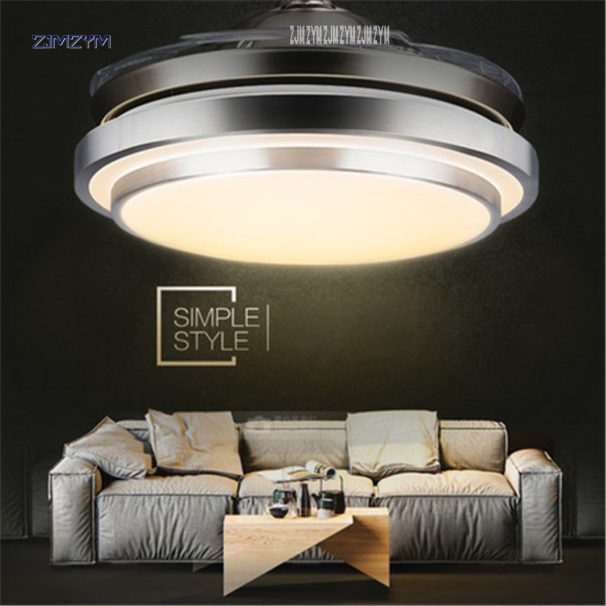 Bright 42 Inch Modern Invisible Fan Lights Acrylic Leaf Led Ceiling Fans 36w Power Wireless Remote Control Ceiling Fan Light 42-yx579 Spare No Cost At Any Cost Ceiling Lights & Fans