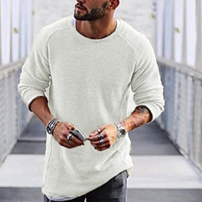 2019 New Men Long Sleeve O Neck Slim Black White Warm Sweater Plus Size Casual Knitwear Clothing Arrival Autumn Winter Sweater
