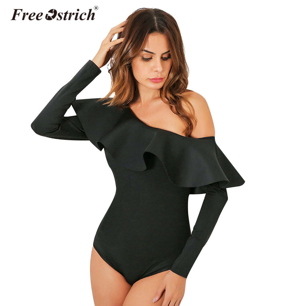 Free Ostrich Bodysuit Women 2019 Sexy   Jumpsuit   Romper One Piece Black Ruffle Long Sleeve Off Shoulder Bodycon Body Top D30