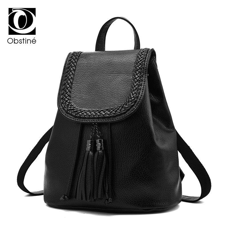 Women Backpacks Black Soft PU Leather Bags Shoulder Schoolbags For Girls Female Backpacks Travel Bag