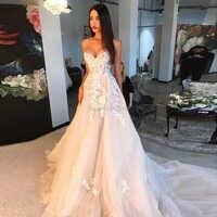 Charming Champagne Hochzeit Kleider mit Elfenbein Appliques 2020 Sexy Schatz Weg Von der Schulter Brautkleider Lace Up Braut Kleid