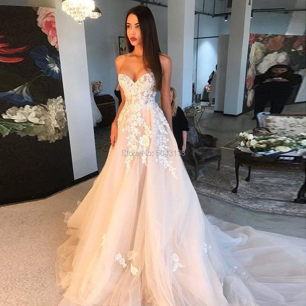 Charming Champagne Wedding Dresses With Ivory Appliques 2020 Sweetheart Off The Shoulder Wedding Gowns Corset Back Bride Dress