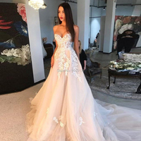 Charming Champagne Wedding Dresses with Ivory Appliques 2020 Sexy Sweetheart Off the Shoulder Wedding Gowns Lace Up Bride Dress