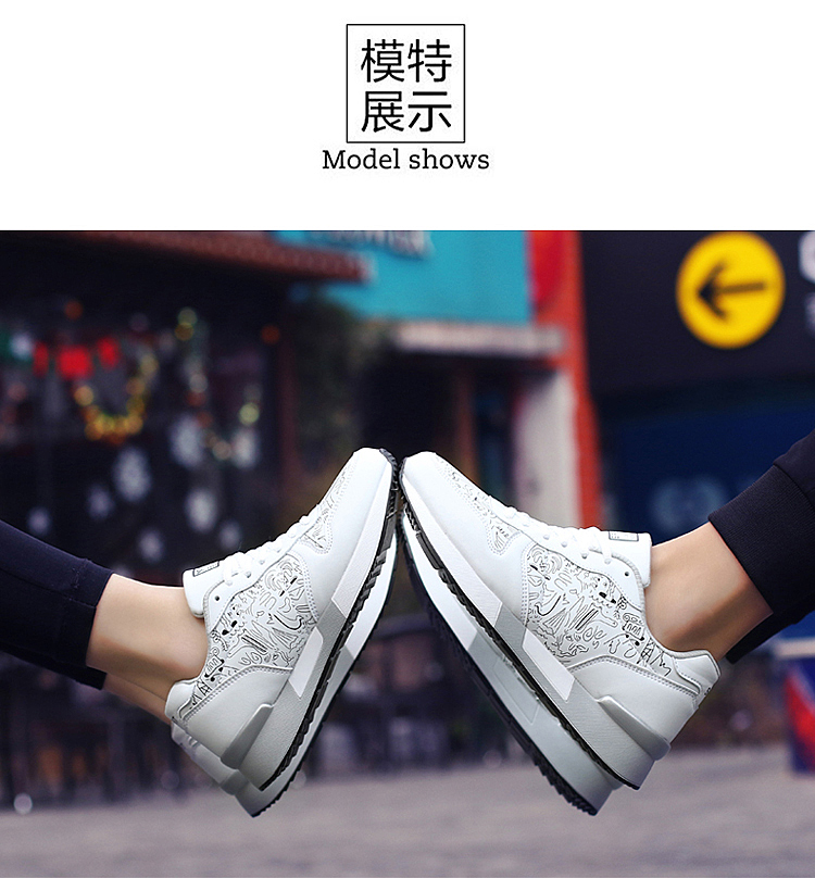 2017 Spring Graffiti Valentine Shoes Women Flat Heel Lace Up Leather Casual Shoes Plush Size 44 Low Top Sport Outdoor Shoes ZD43 (51)